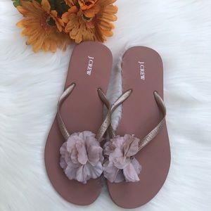 J.Crew Flip Flop Sandals w/Flower Power 🌸Size 8